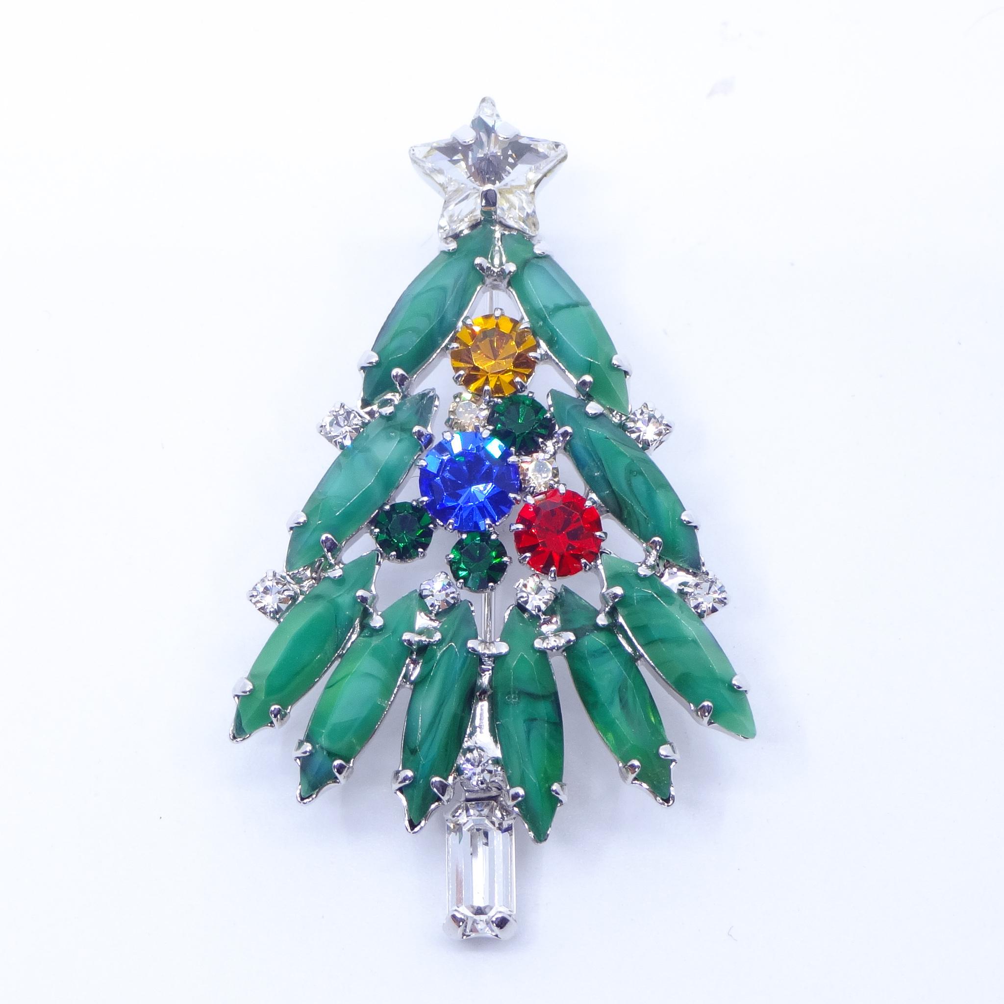 ブローチ ラインストーン クリスマスツリー  グリーン レッド ブルー イエロー 149073