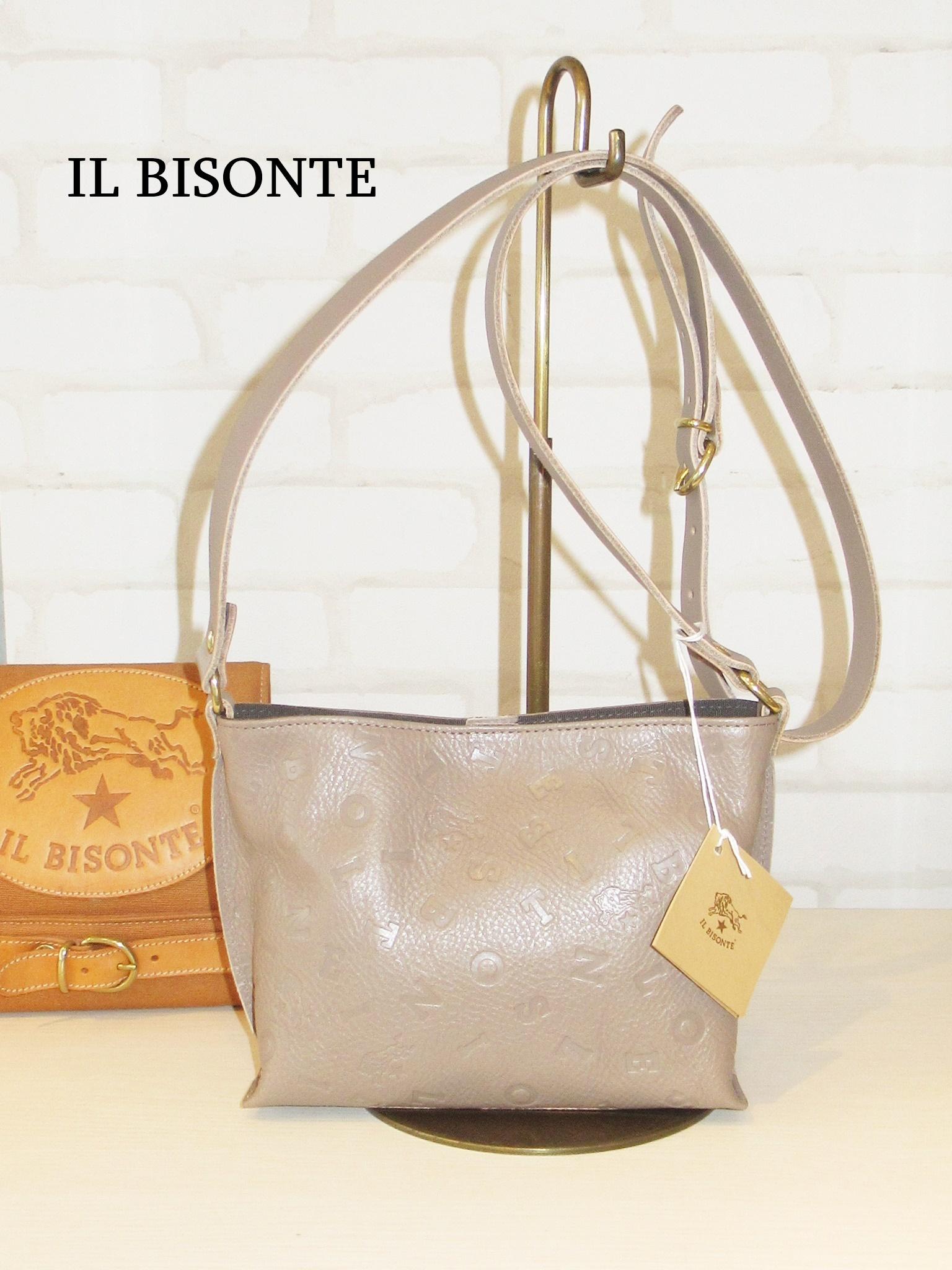 【日本限定】IL BISONTE/09110/ロゴエンボスショルダーバッグ(グレー)