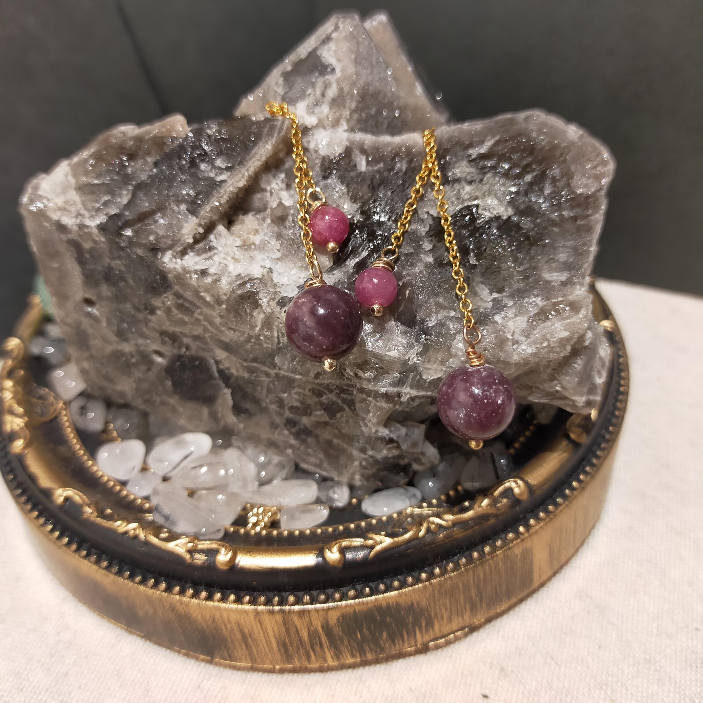 天然石ピアス イヤリング 天然石アクセサリー ピンクサファイア レピドライト