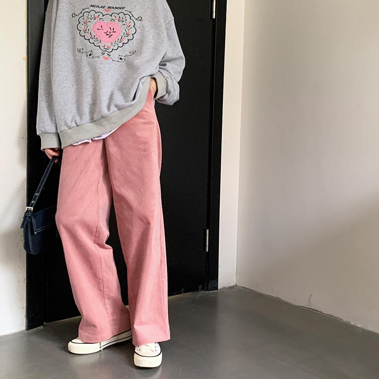 ピンクコーディロイパンツ プリントトレーナーコーデ 韓国ファッション通販 Nosweat
