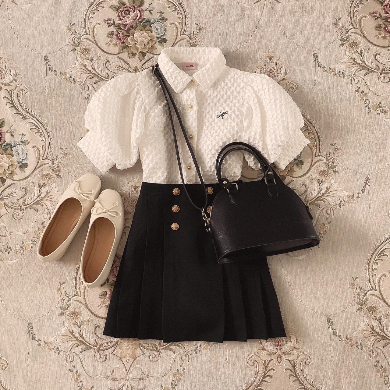 6/8締【meltie】gold button mini skirt
