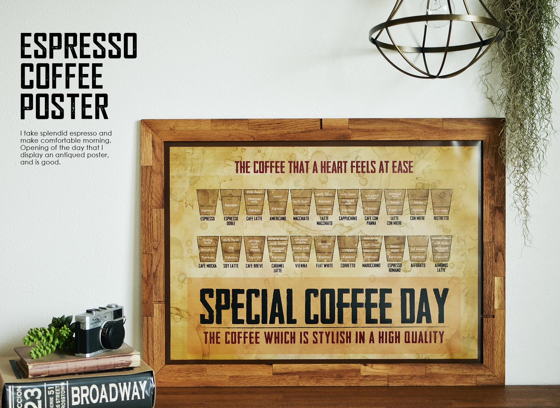 Coffee Espressoヴィンテージ調アートポスター