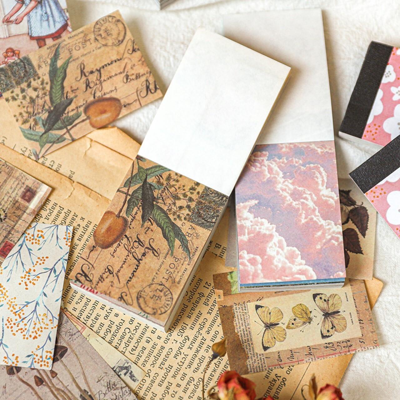 素材紙 全3種 ミニサイズ マテリアルブック 背景紙 コラージュ 素材 紙もの 背景紙 きのこ レトロ 花柄 風景柄 C14