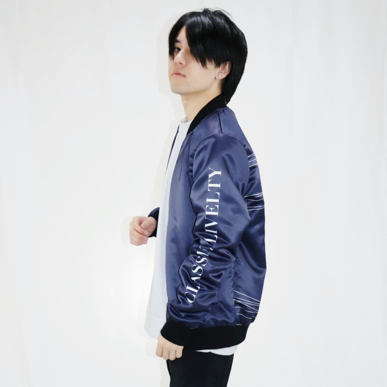 サテンMA-1ジャケット ネイビー