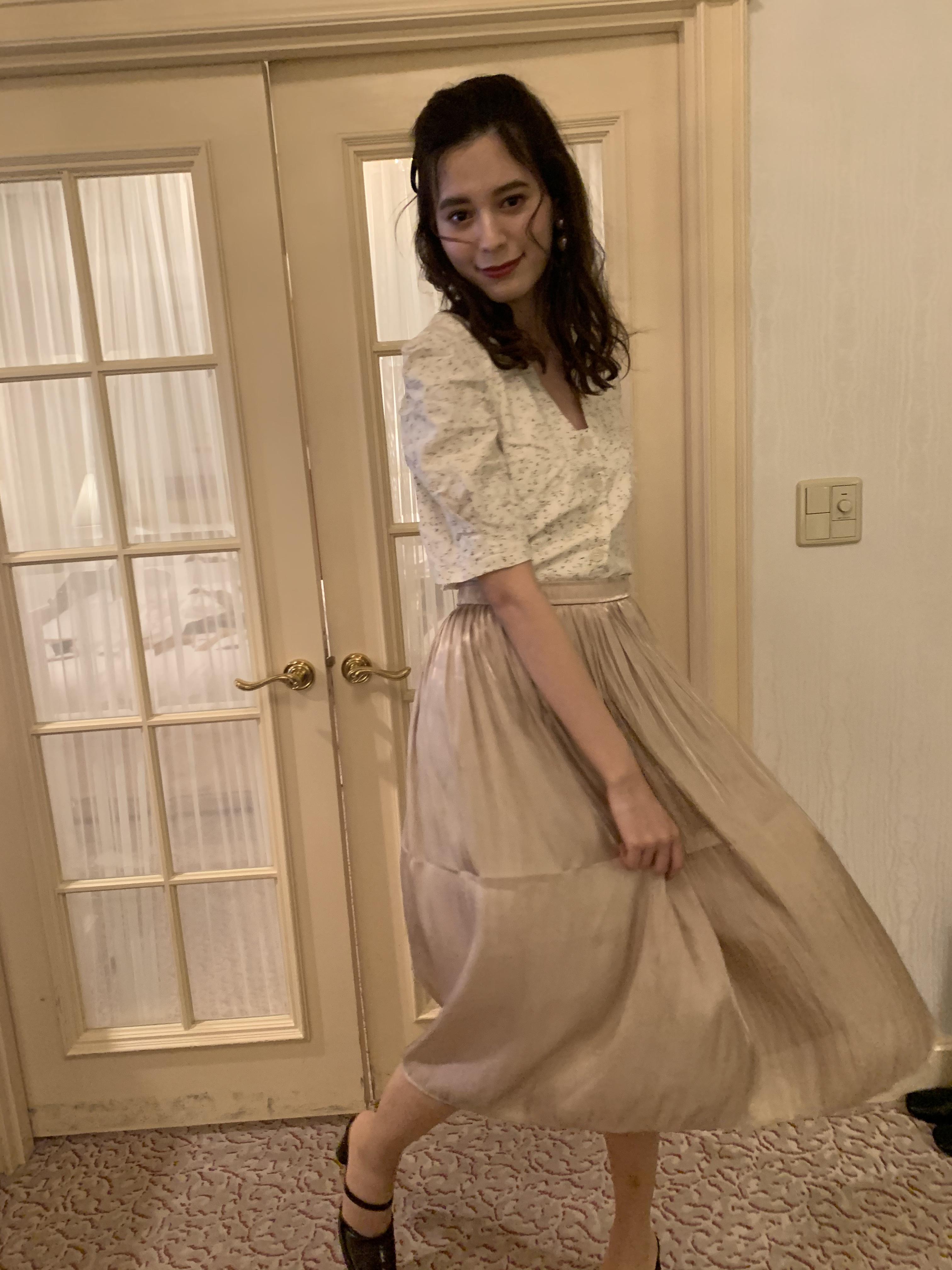 shimmer midi skirt