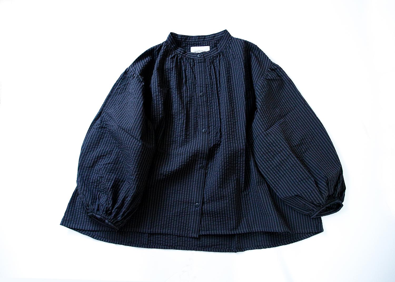 《michirico 2021AW》Stripe shirts / charcoal / S・M(大人)