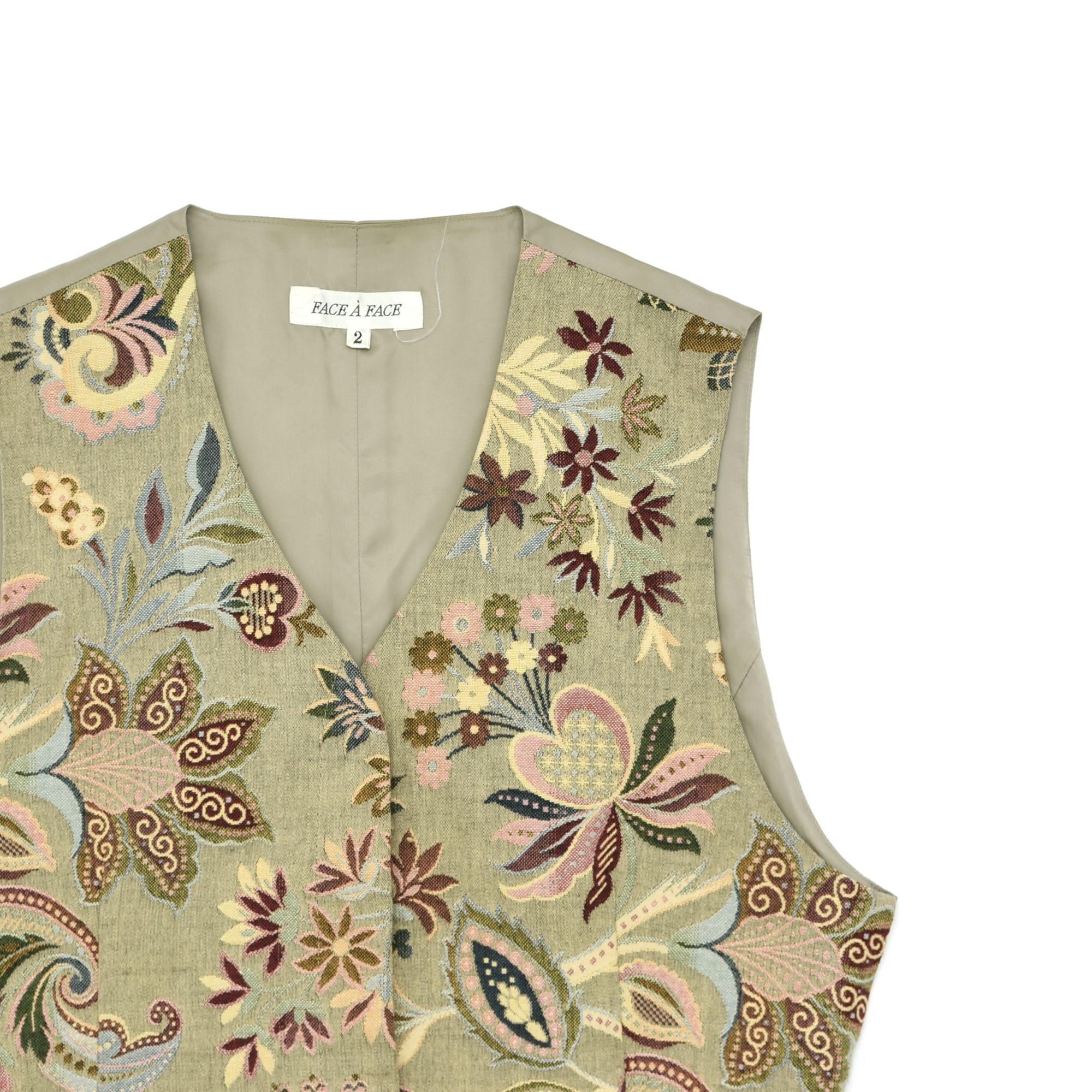 Antique flower pattern tapestry vest
