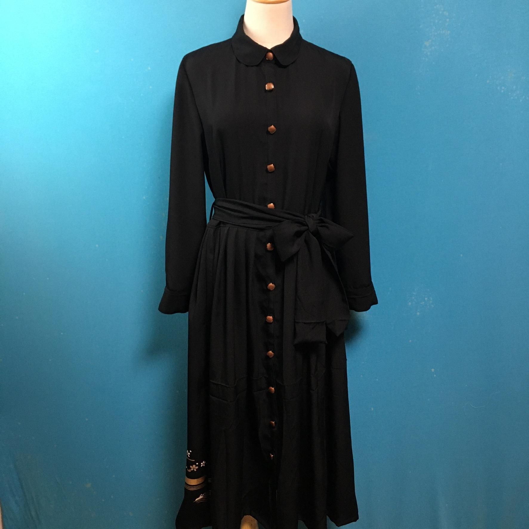 Vintage black kimono dress/ US 8/ round collar