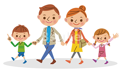 イラスト素材:手をつないで歩く4人家族(ベクター・JPG)