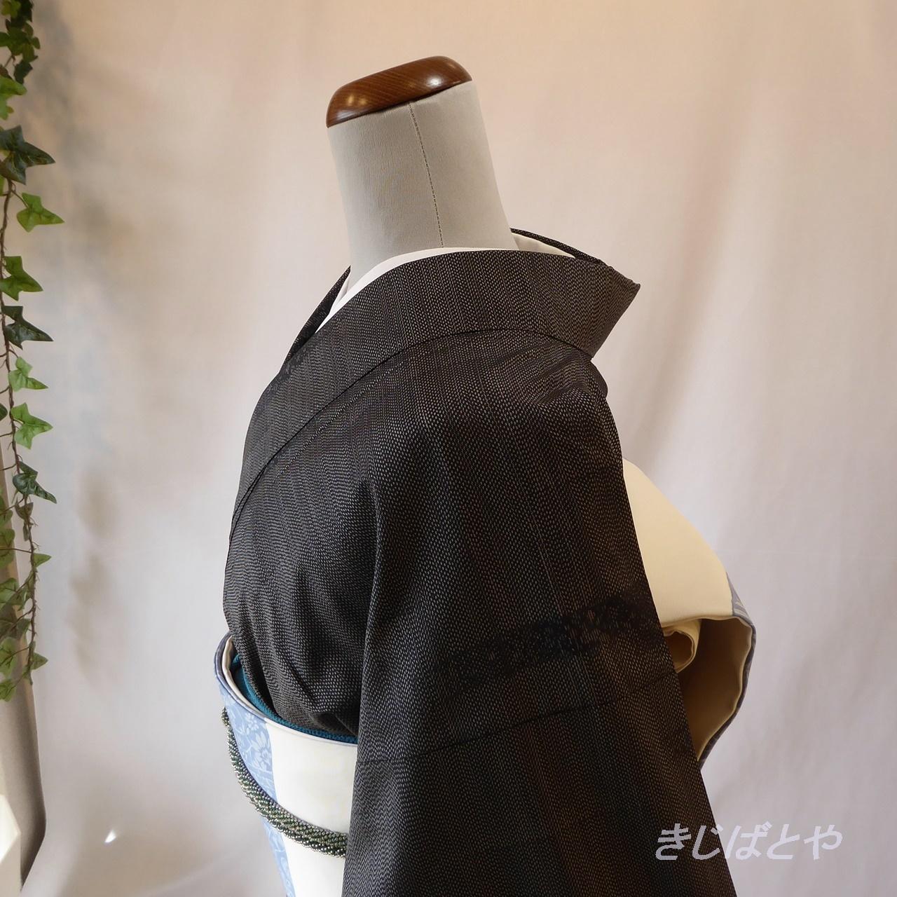 大島紬 黒銀の小紋 袷