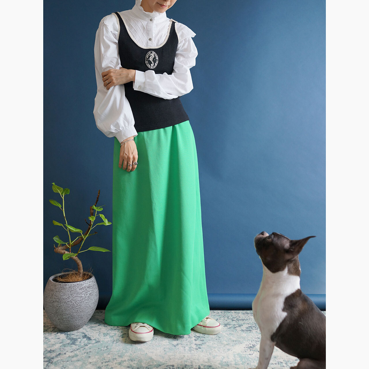 【送料無料】70's Green High Waisted Maxi Skirt