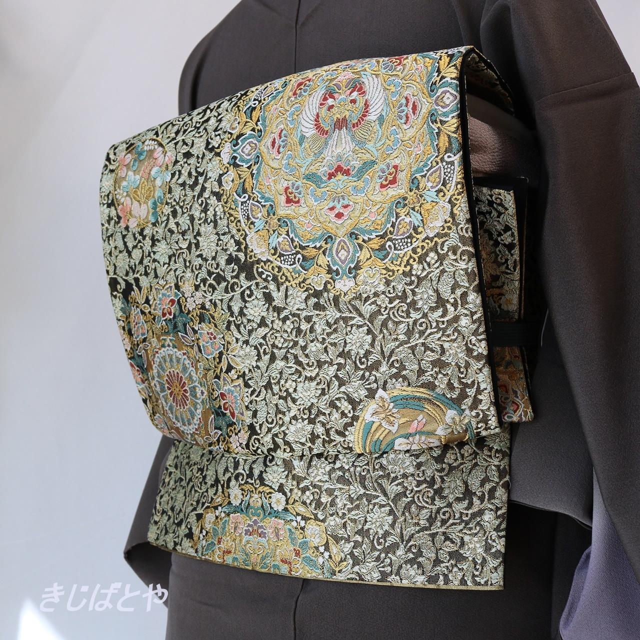 正絹 黒地に青磁の織りの袋帯