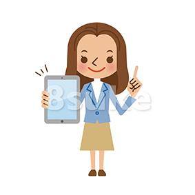 イラスト素材:タブレット端末を持つ若い女性(ベクター・JPG)