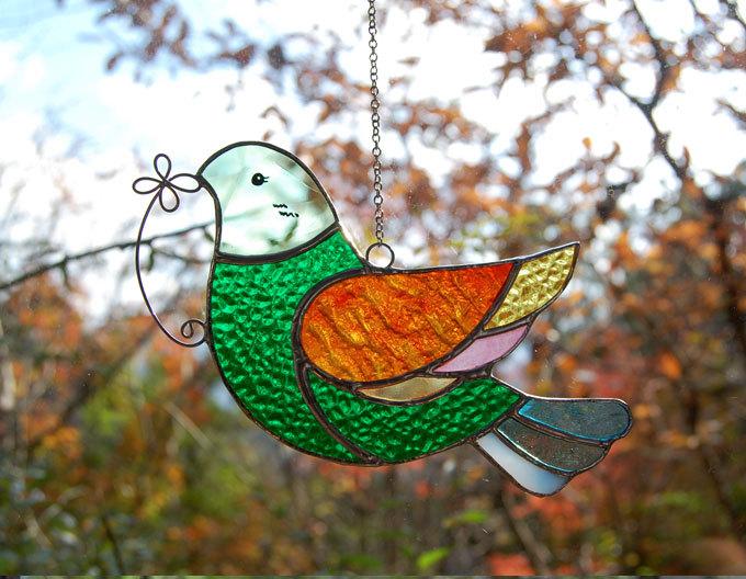 小鳥(ステンドグラスのウィンドーオーナメント) 02090001