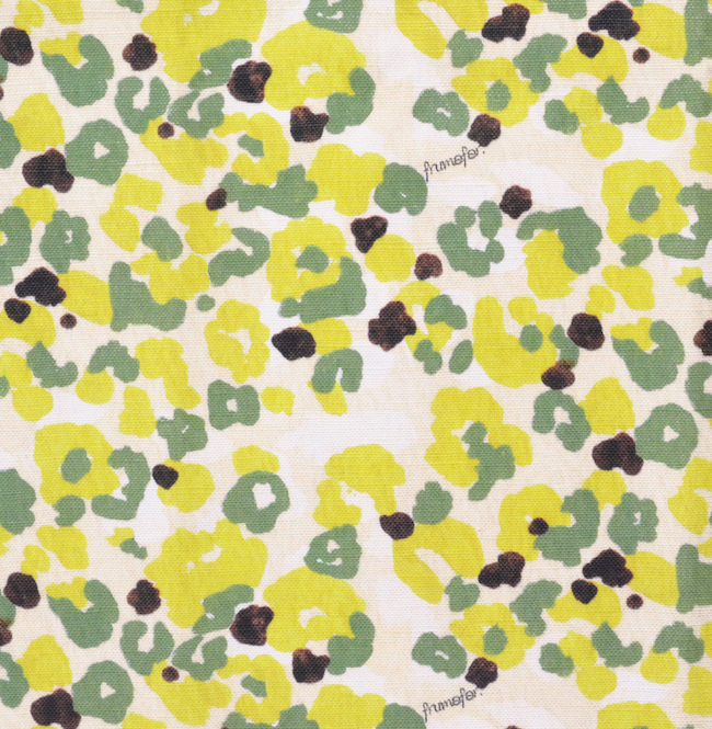 < girl's camouflage lemon > コットンリネンキャンバス生地 45cm x 68cm