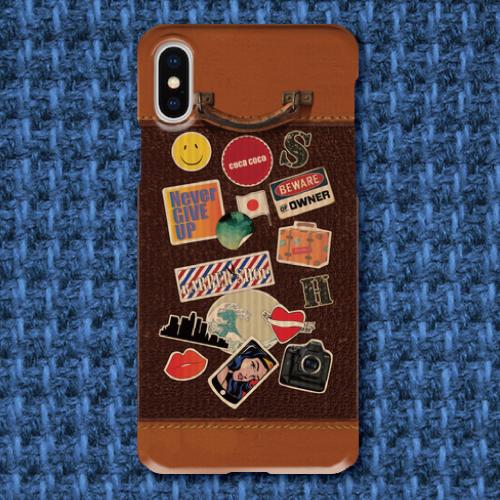 レトロ調/スーツケース調/トランク調/レザー調/旅行/トラベル/ビンテージ調/iPhoneスマホケース(ハードケース)