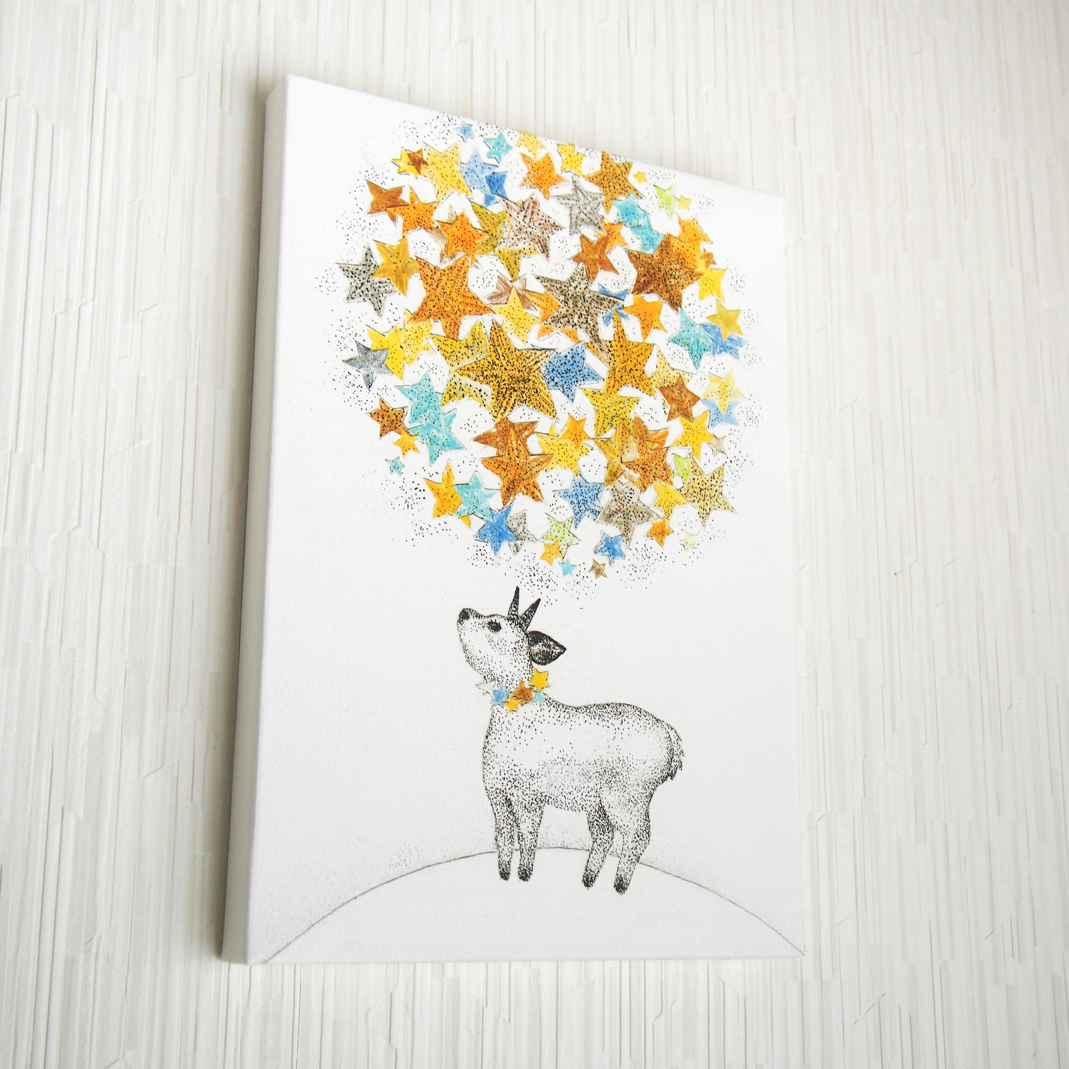 *星を見上げる動物の絵 (複製) 木製パネルサイズ変更可