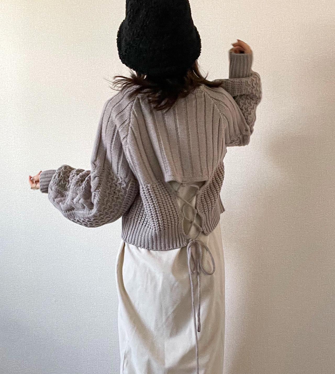 【greige】back open Knit