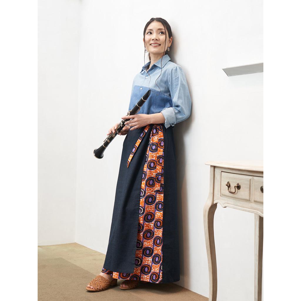 リバーシブル巻きスカート ネイビー ファイヤーボール (日本縫製) 異素材 2way アフリカンプリント アフリカンファブリック フリカンバティック アフリカ布 ガーナ布 ラップスカート