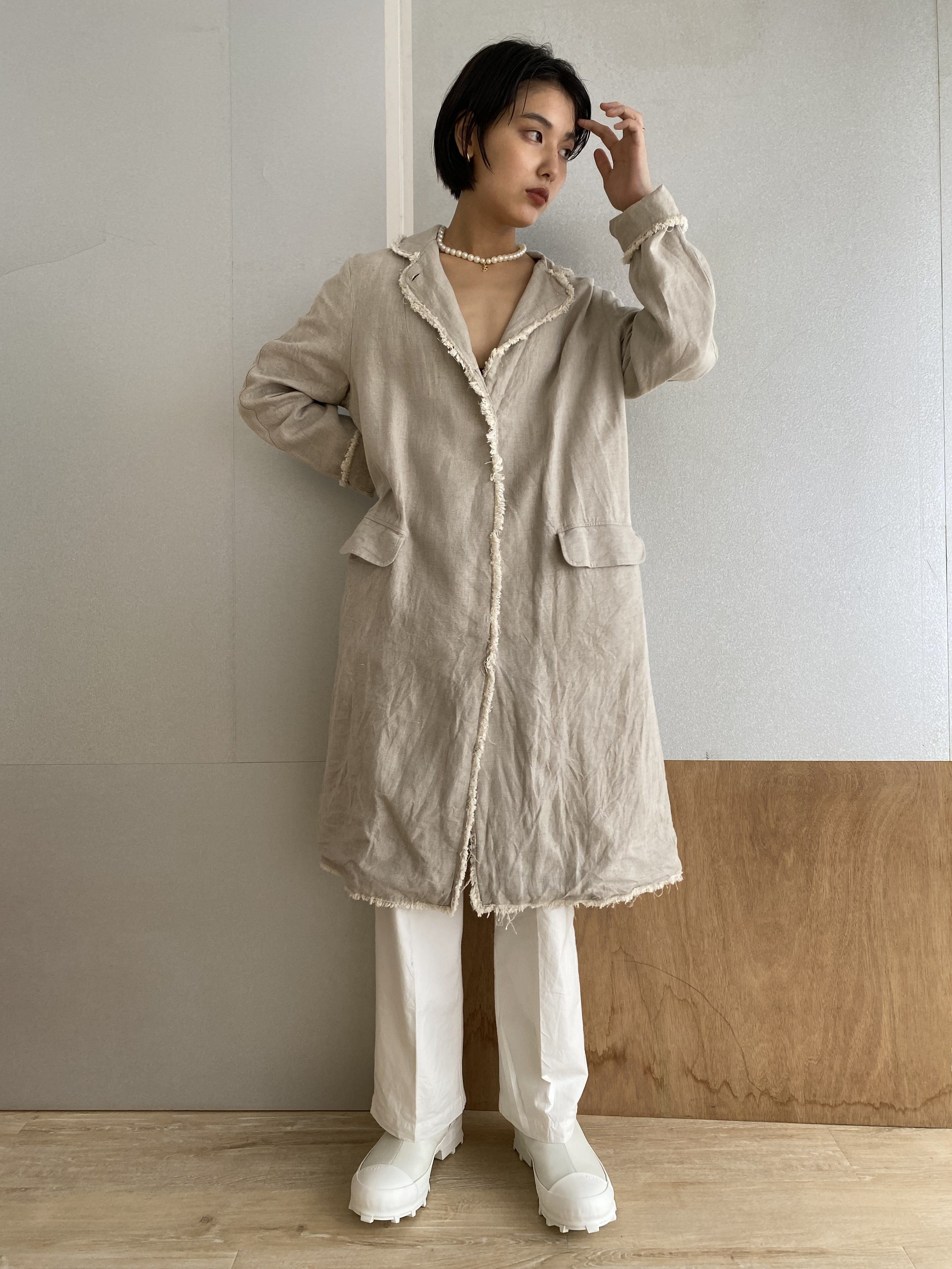 """Two style sleeve spring coat """"natural linen"""""""
