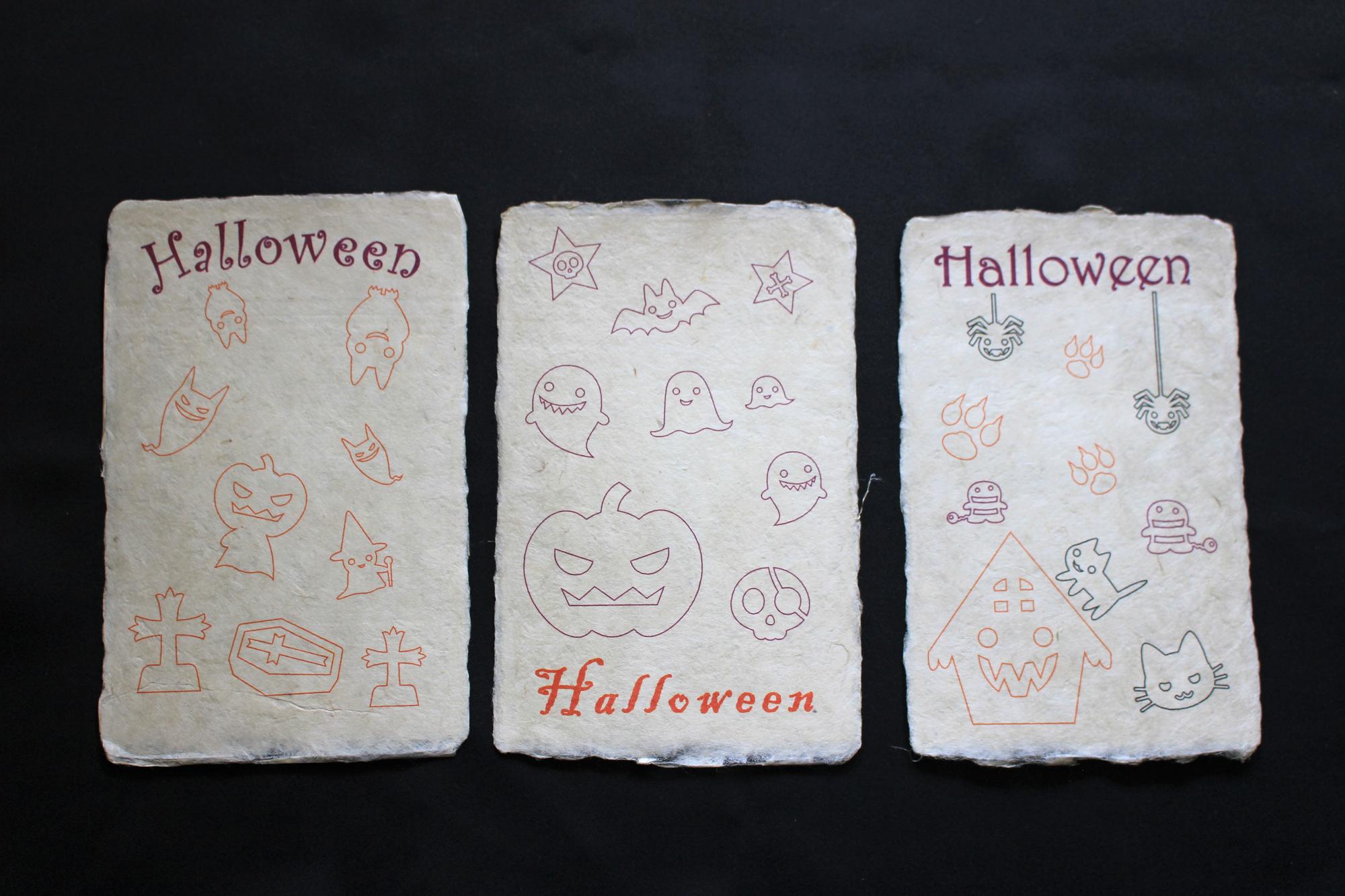 ハロウィン手すき和紙塗り絵カード