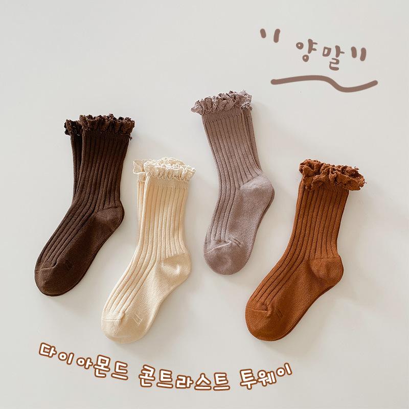 【即納】子供靴下4点セット キッズソックス フリル 韓国子供服