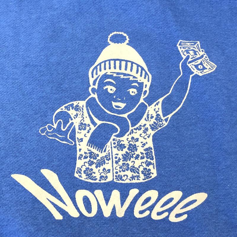 Noweee メンズ パーカー ブルー 冬ロゴ