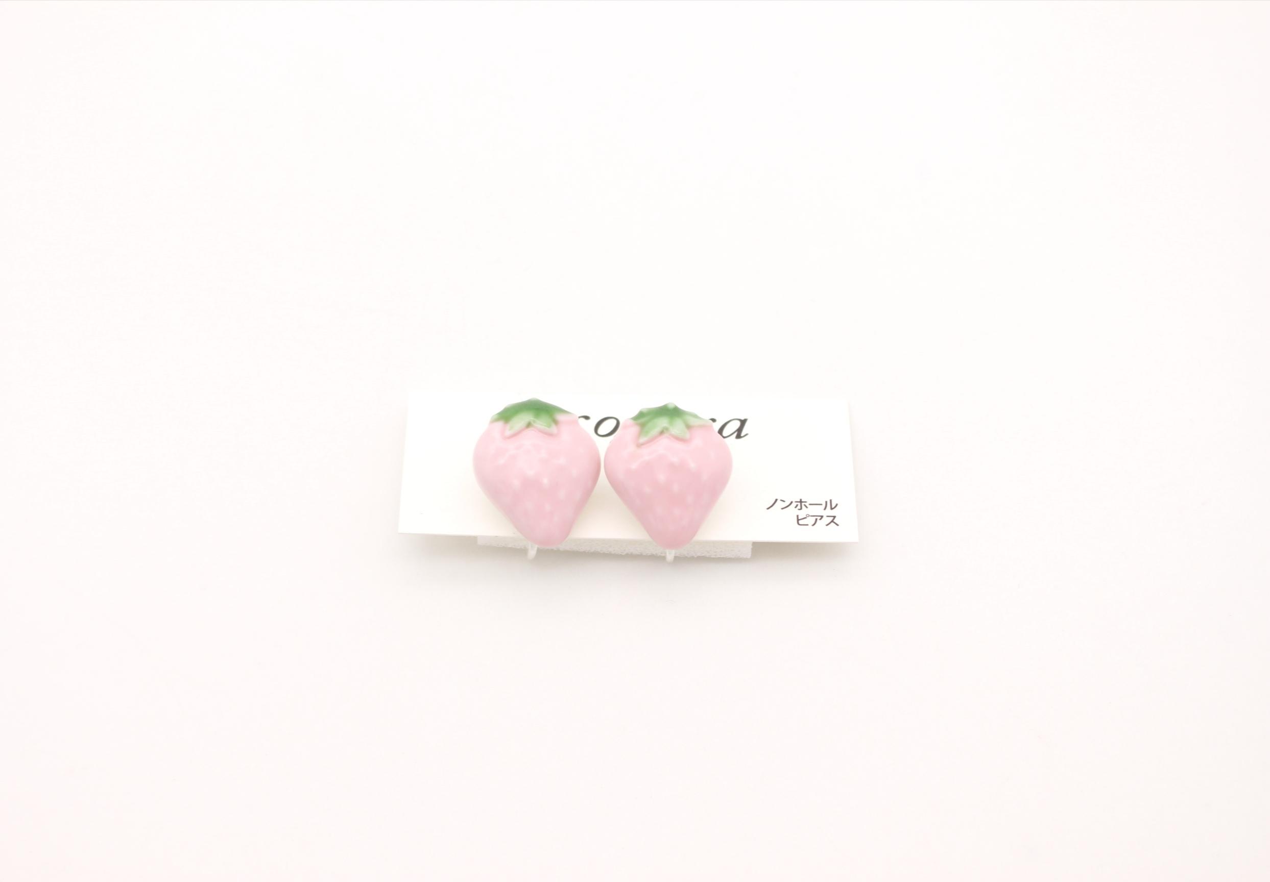 有田焼ノンホールピアス イチゴ ピンク