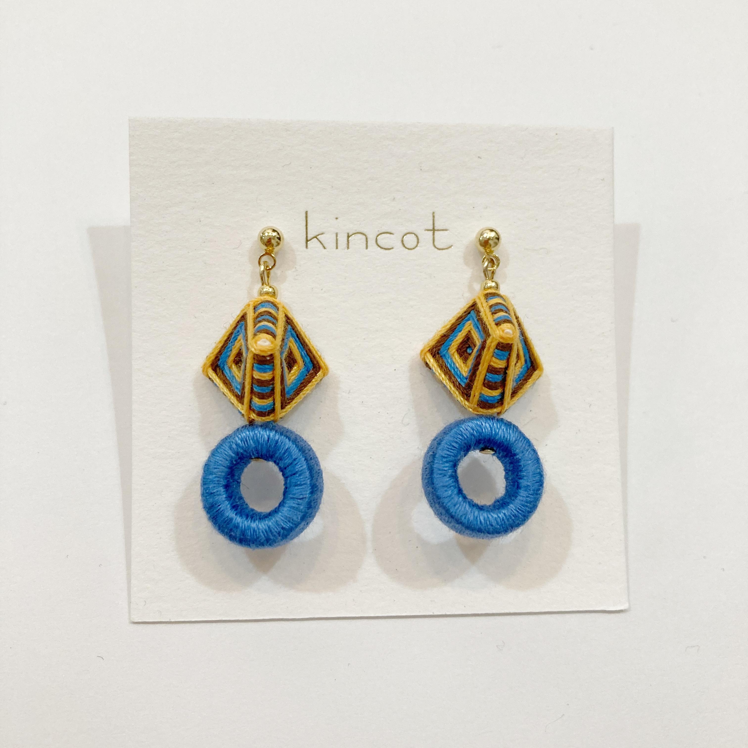 【kincot】糸巻きフープピアス(ブルー)パーツ交換可能