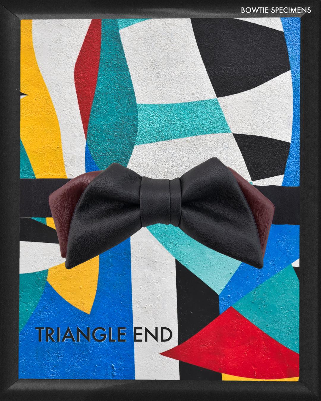トライアングルエンド (ブラック×バーガンディ/レザー調) 作り結び型〈蝶ネクタイ メンズ 男性 ワインレッド ボルドー〉