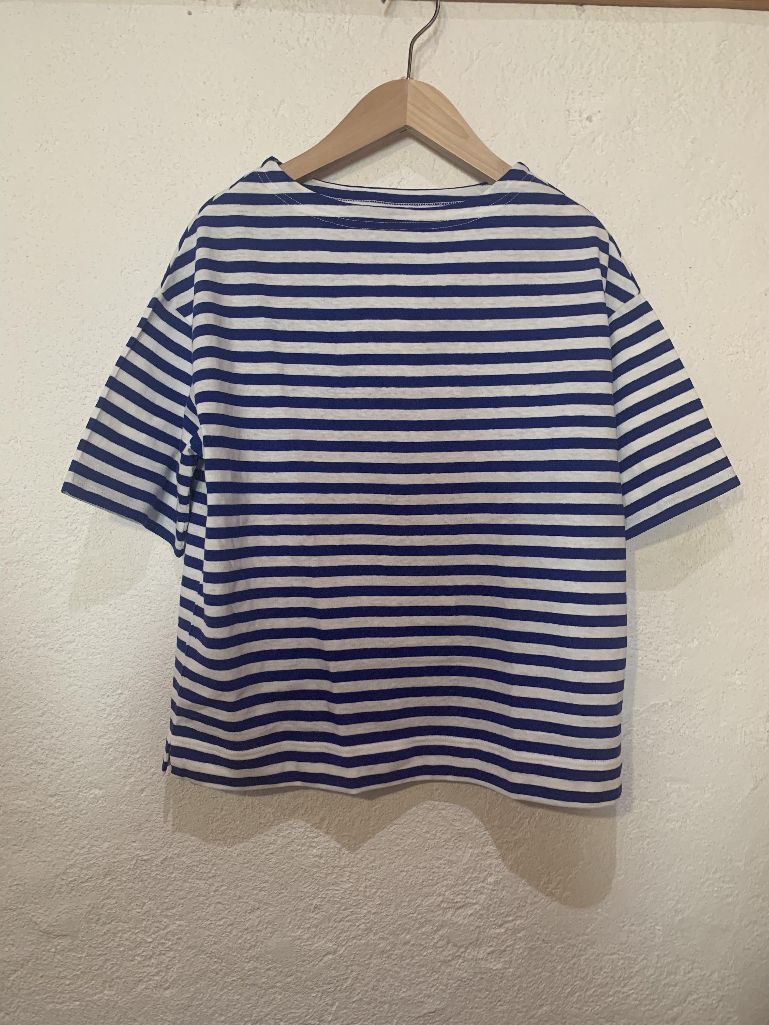 Chloro sister/toujours/ボーダーボートネックTシャツ  ブルー
