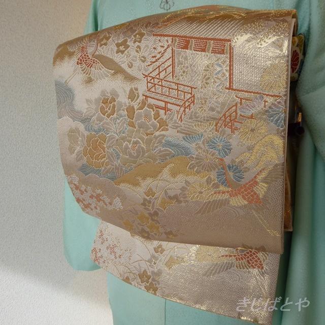 正絹 白地に鶴舞う袋帯