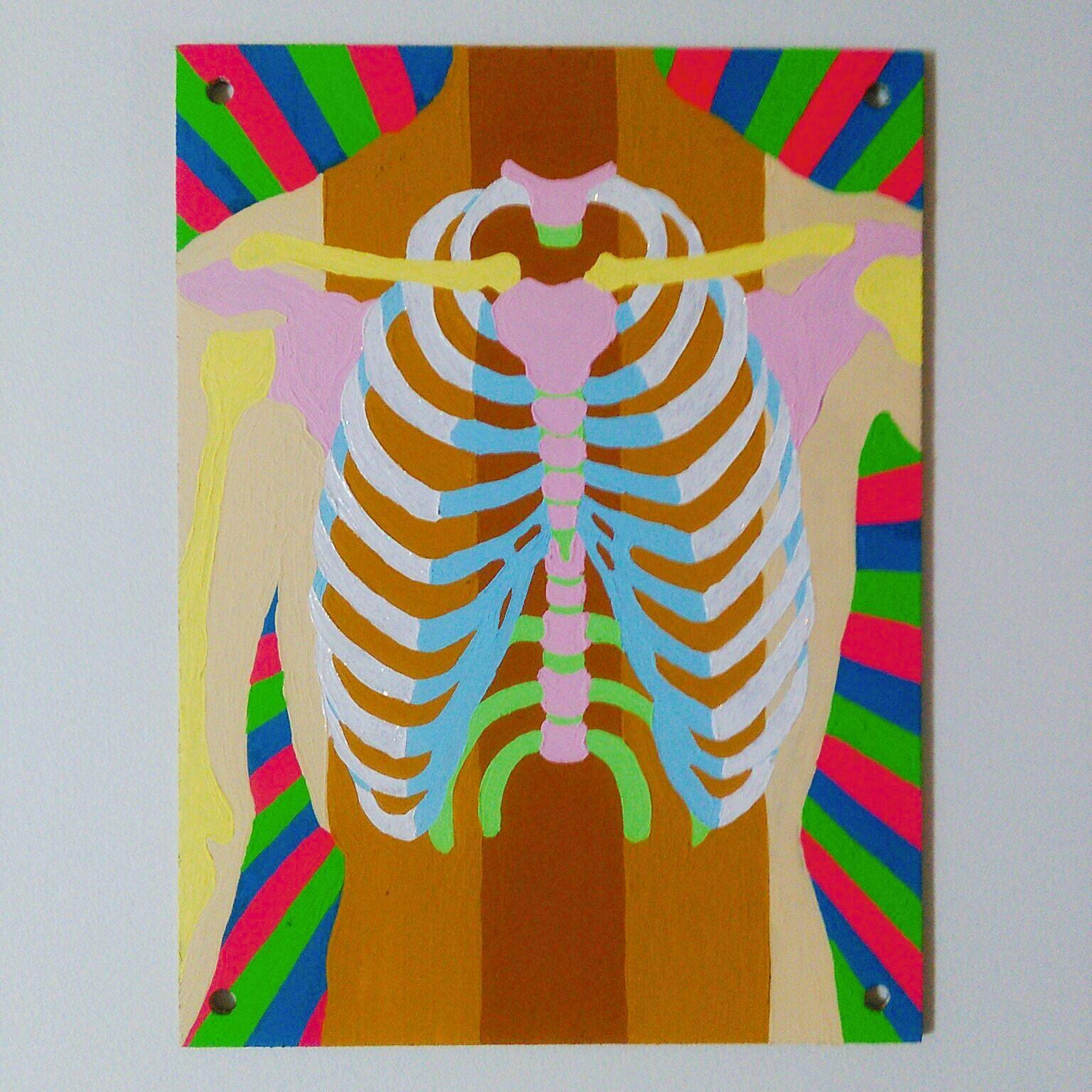 MUSCLE (2019) & BONES (2020) / 18cm×13.5cm / Acrylic painting / Original Drawing