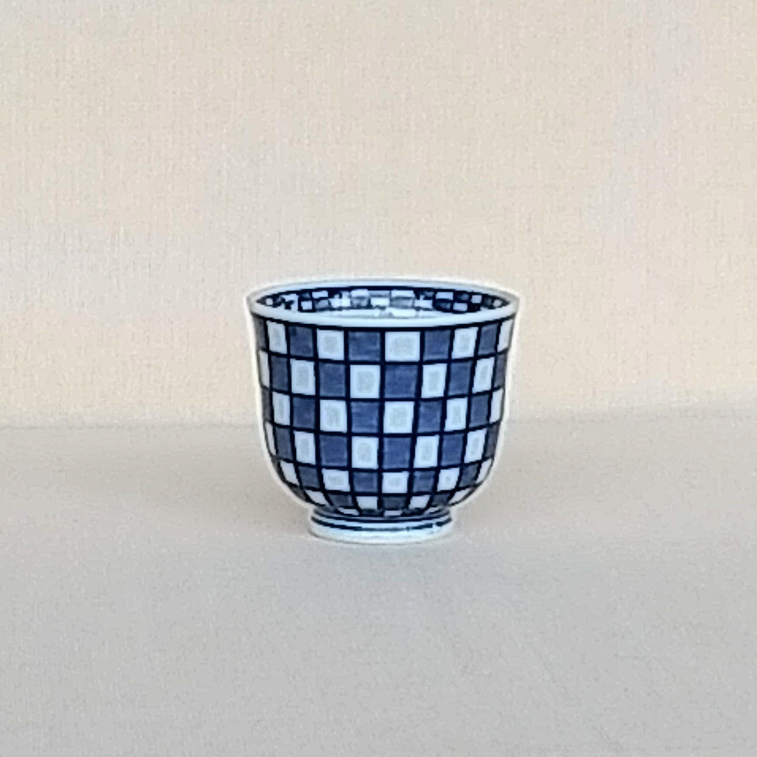 伐太郎窯 染付 市松 深仙茶