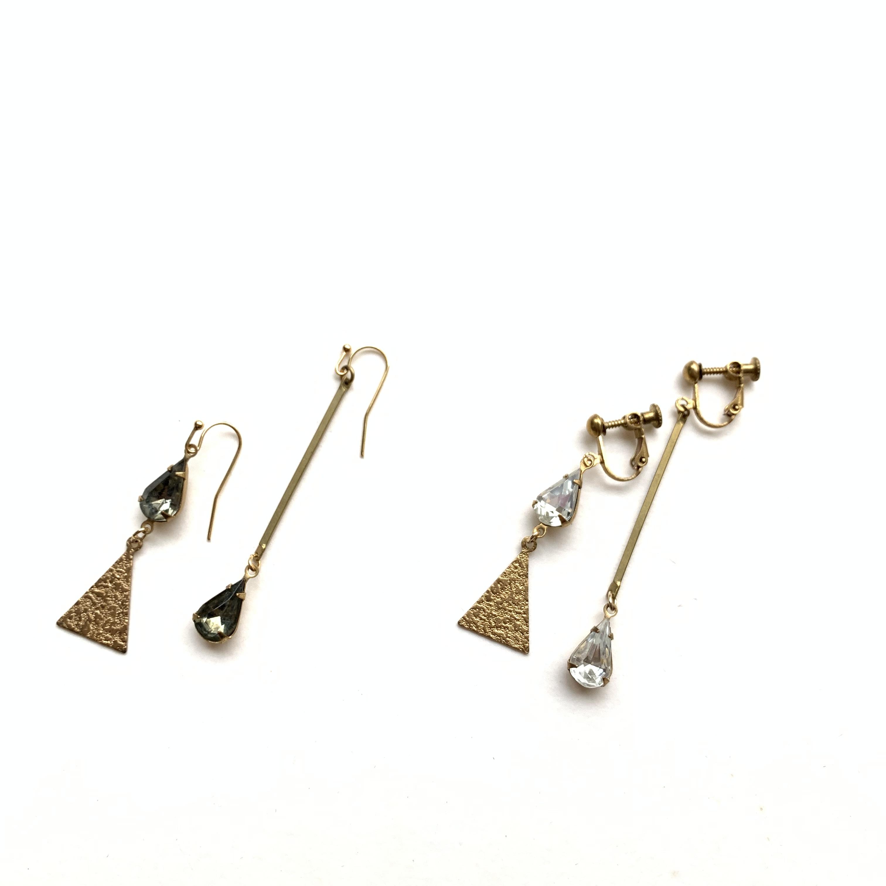 Triangle glass drop earrings G-003