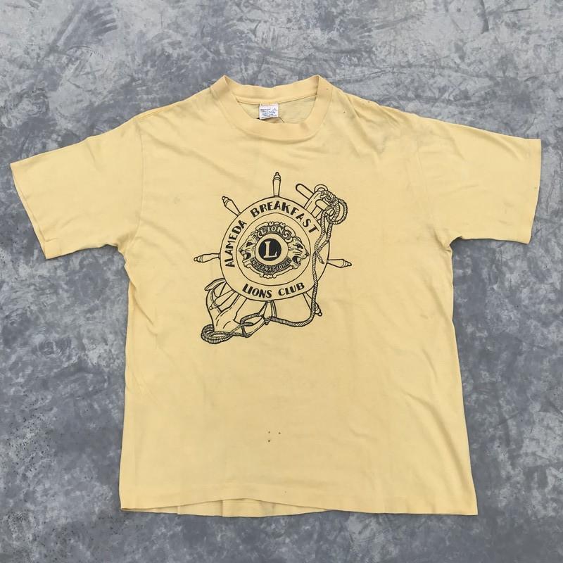 70's LIONS CLUB Tシャツ ALAMEDA BREAKFAST イエロー BELTON Lサイズ ヴィンテージ