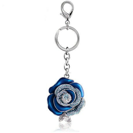IUHA 彼女に最適!バレンタイン 青いバラ「ブルーローズ」 バッグチャーム スワロフスキー石を使用 ストラップ キーリングアクセサリー ギフト  70iuhav