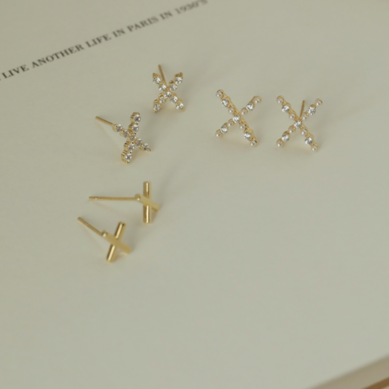 rhinestone cross pierce 3 set  p086