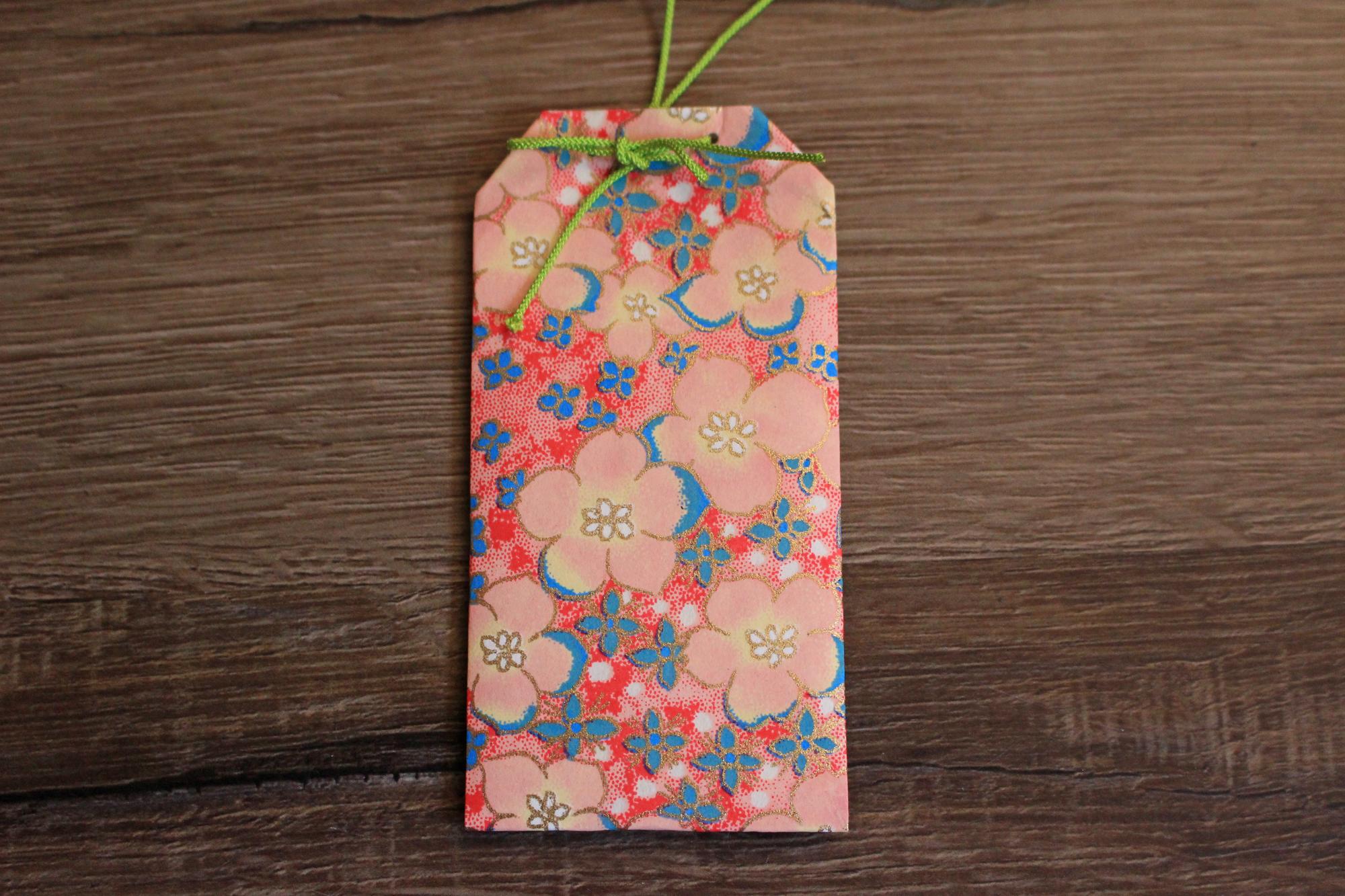 コロナ退散!和紙お守り型ポチ袋+ミニ和紙カード 5枚セット No.1