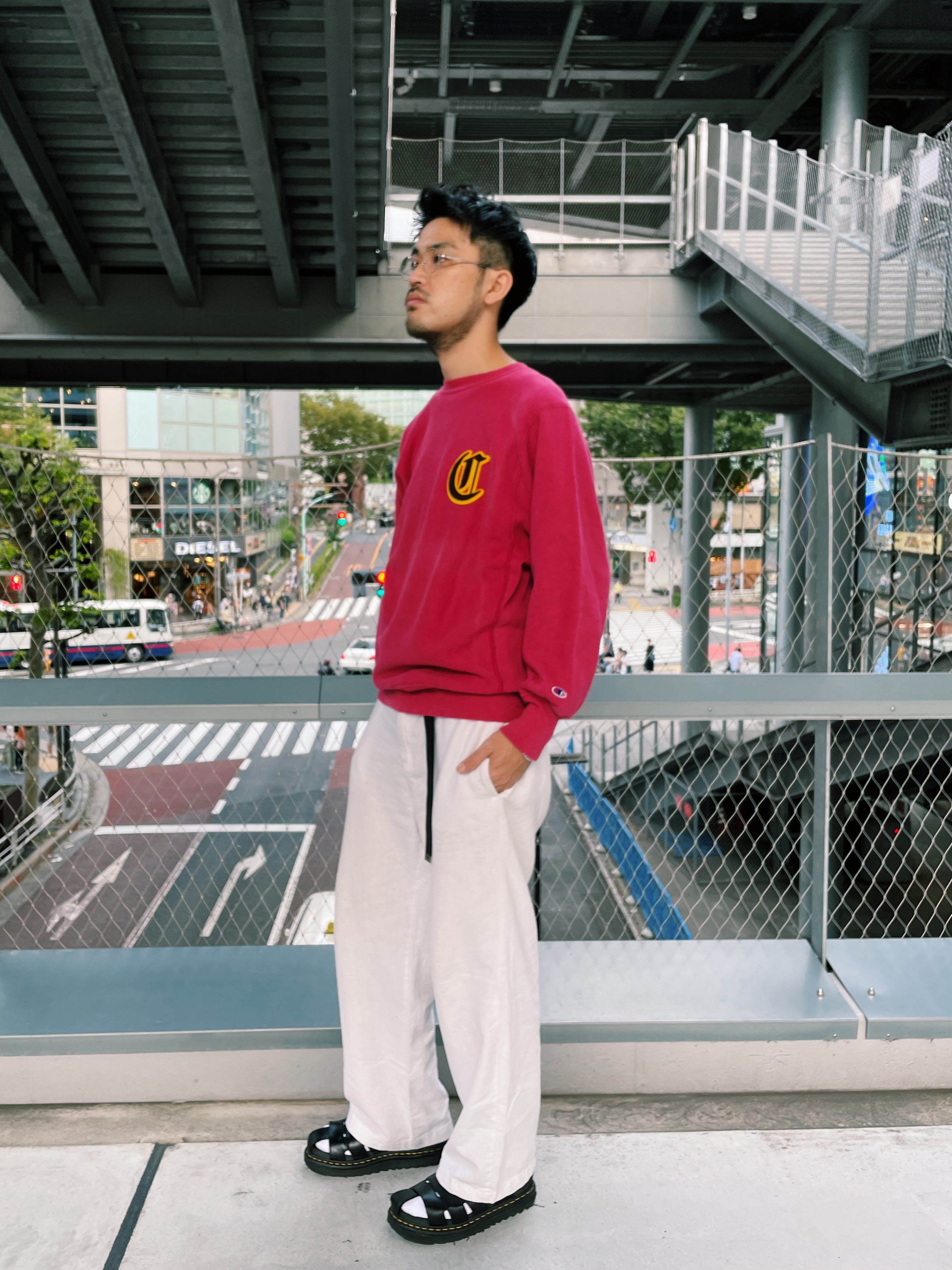 (CS484) 90's Champion Reverse Weave one point logo sweat made in Mexico