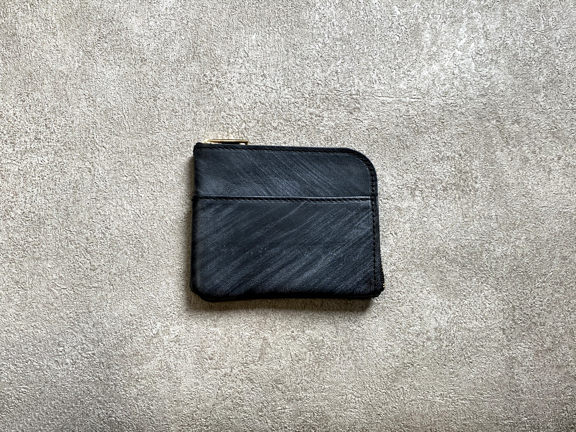 L-shaped Small Wallet: (vegetable tanned and waxed leather) Color : Navy