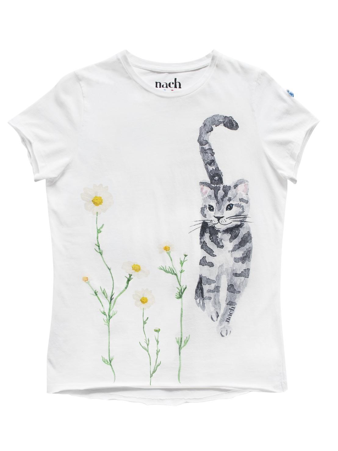 ナッシュ Tシャツ グレー猫 丸首