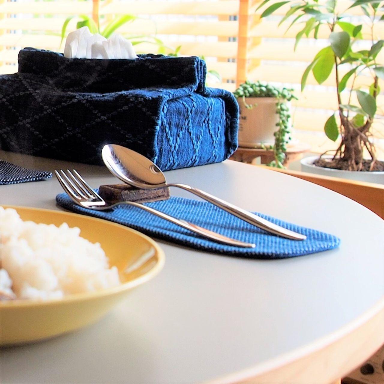 うしじま縫製   武州正藍染 カトラリーコースター(小) 一重刺子