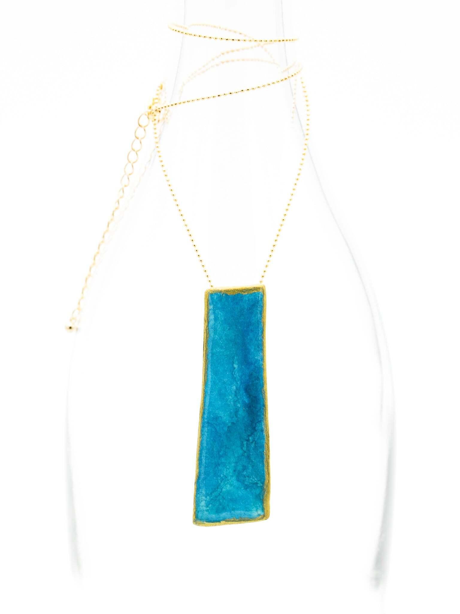 """Blue sky""  Japanesepaper 2way brooch&necklace"