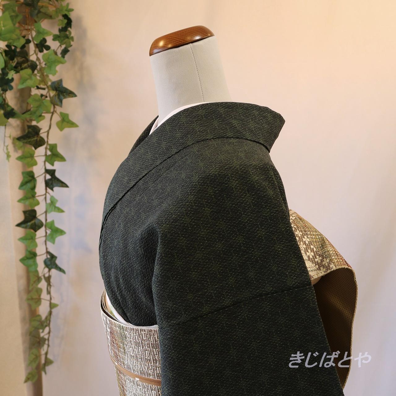 塩沢紬 黒橡(くろつるばみ)色の小紋 単衣