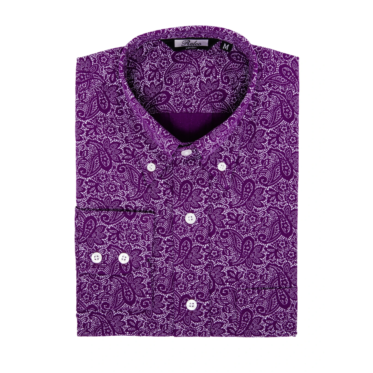 Relco London | Button Down Paisley Shirt - Purple
