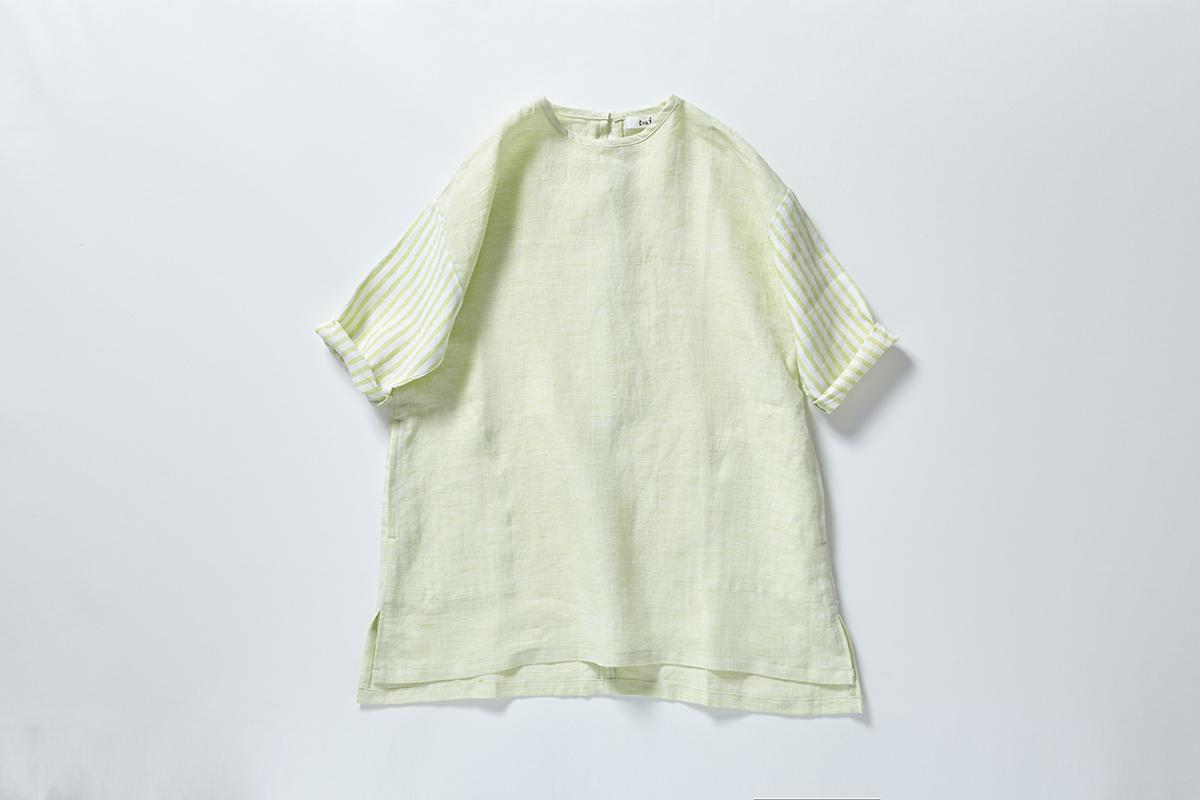 《cokitica 2016SS》 linen stripe-OP / yellow stripe / 110・120cm