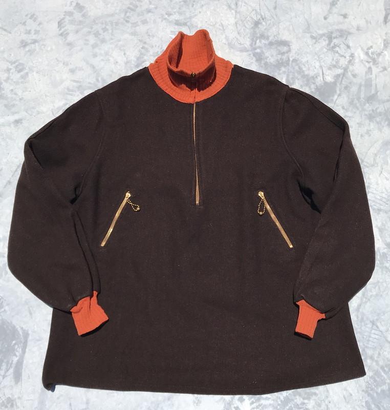 30's 40's Cravenette Processed ウールプルオーバースポーツジャケット 珍品 デコTALON コの字 ボールチェーン ブラウン 針抜きリブ 希少 ヴィンテージ
