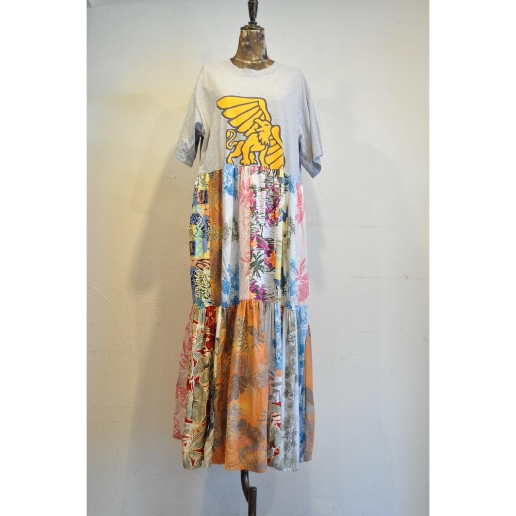 【RehersalL】Tshirt flower tiered onepiece /【リハーズオール】Tシャツフラワーティアードワンピース
