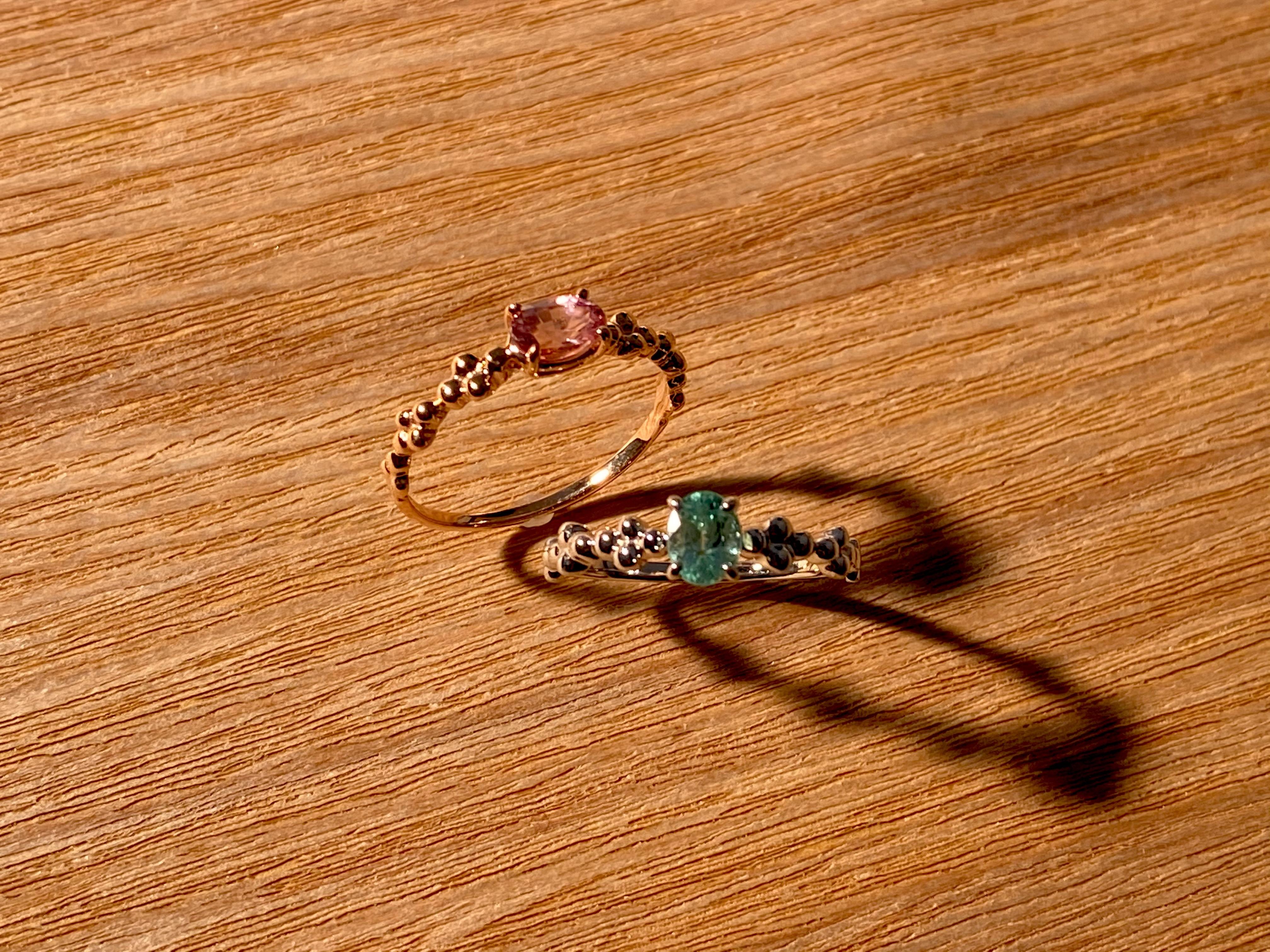 【18金】お持ちの宝石をリングにオーダー作成 [デザインNo,4]